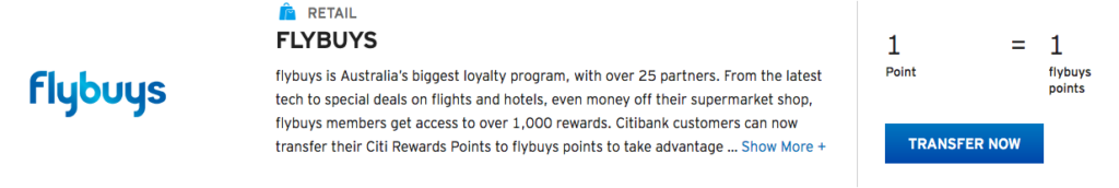 Citi Rewards to flybuys transfer