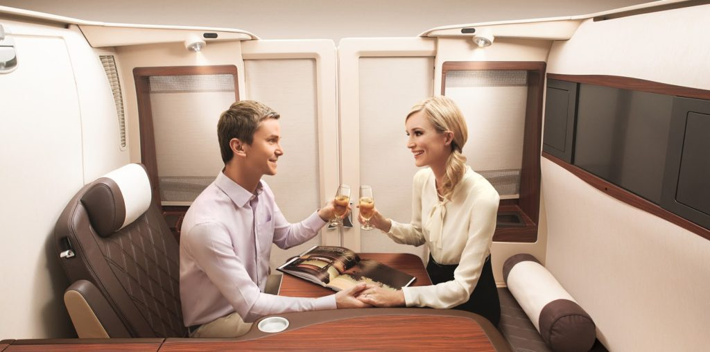 Singapore Airlines A380 dining together