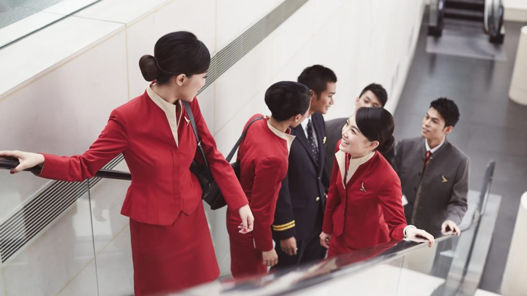 Cathay Pacific crew members
