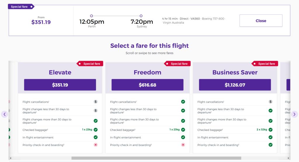 Virgin Australia fare classes
