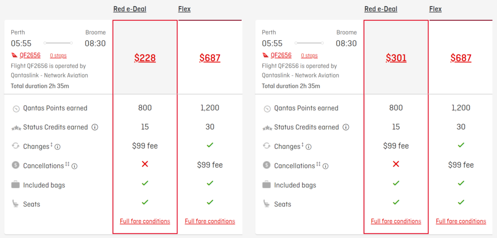 Qantas Perth-Broome ticket prices