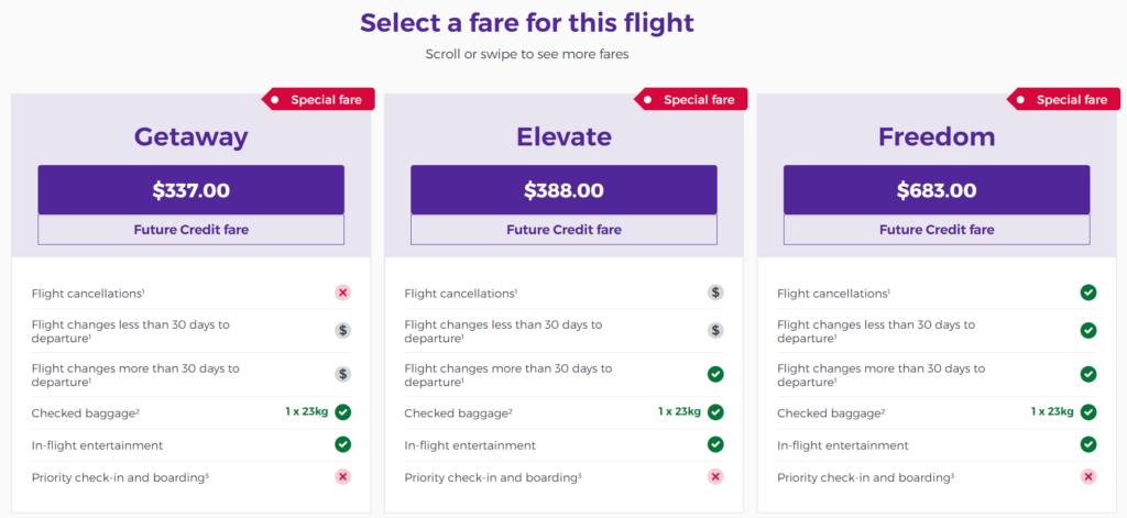Virgin Australia Future Flight Credit Fare