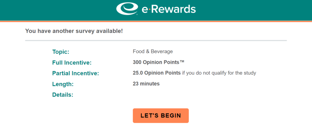 e-Rewards survey start screen