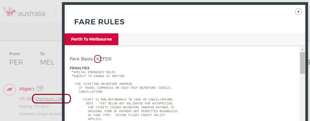 Virgin Australia Fare Class example