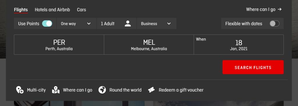 Qantas booking use points button