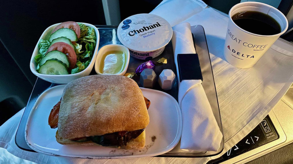 Delta One A350 suite meal