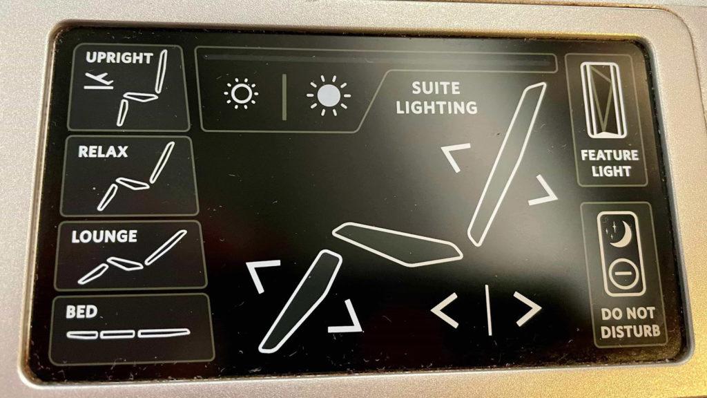 Delta One A350 Suites seat controls
