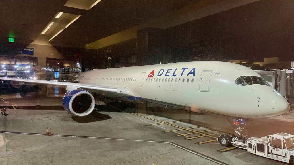 Delta A350 plane on tarmac