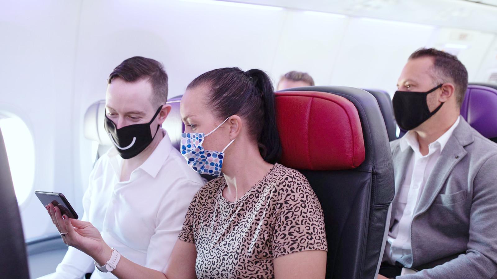 Passengers wearing mask onboard