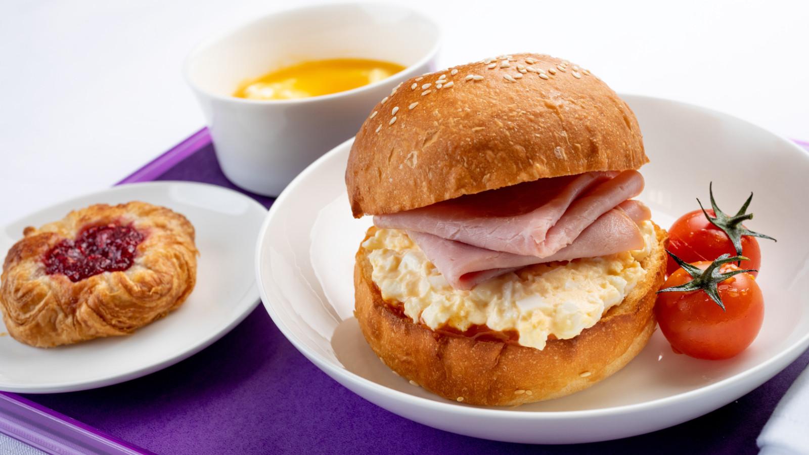 Virgin Australia Business Class Ham and Egg Brioche Roll
