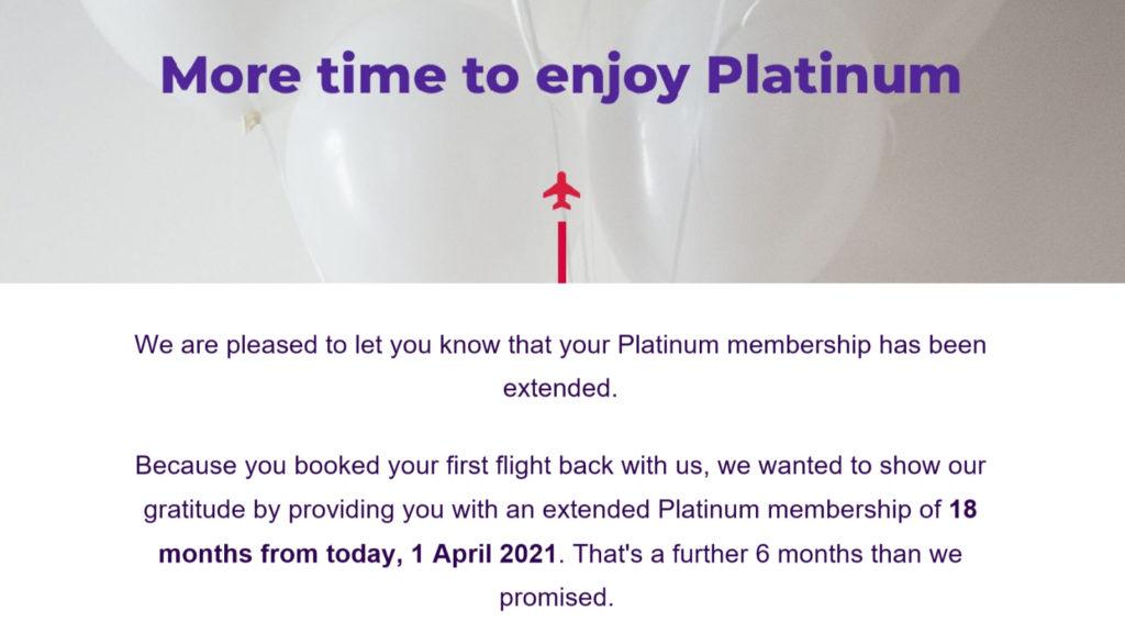 Velocity 18 month status extension