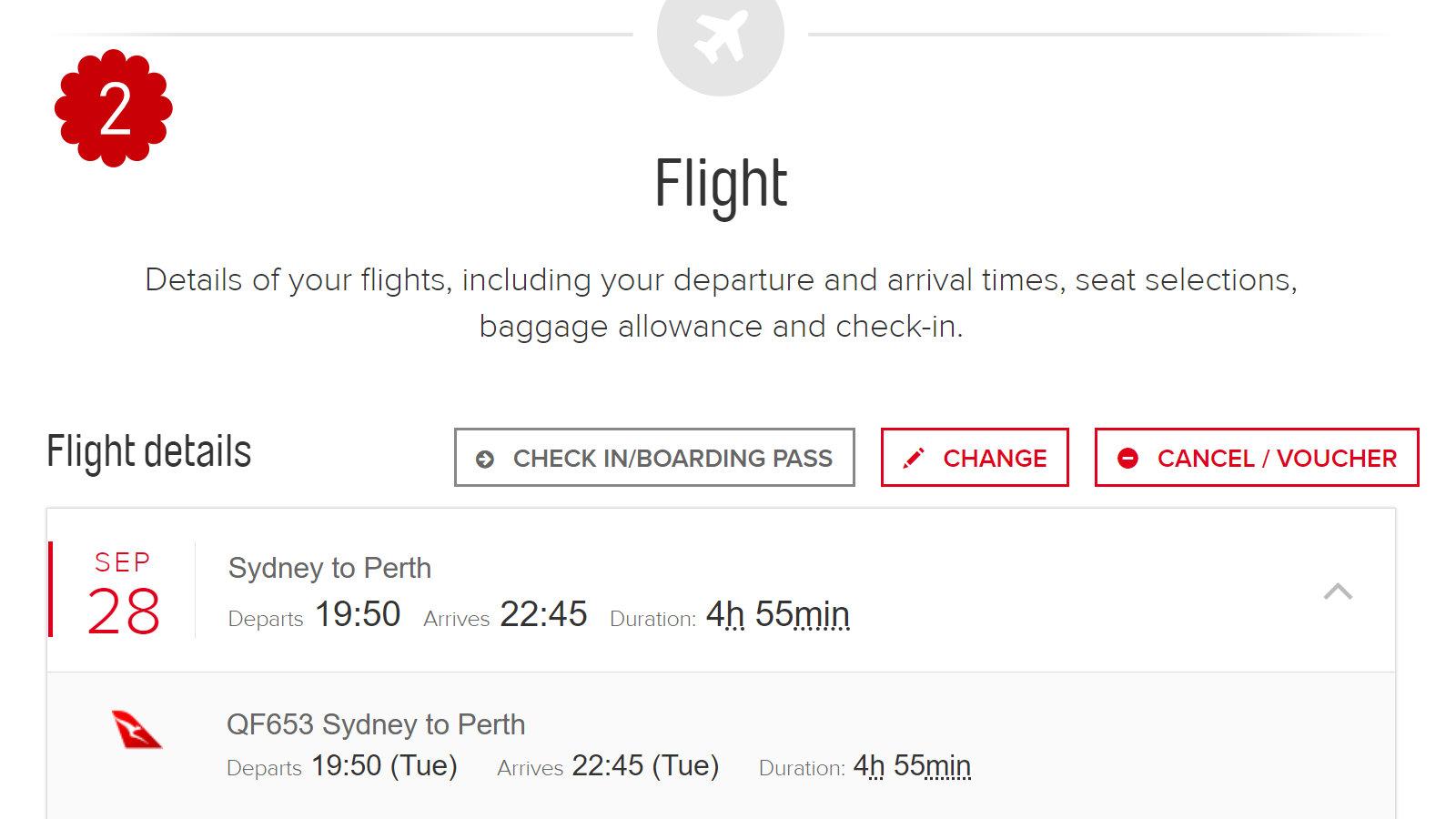 Qantas Change Flight 2