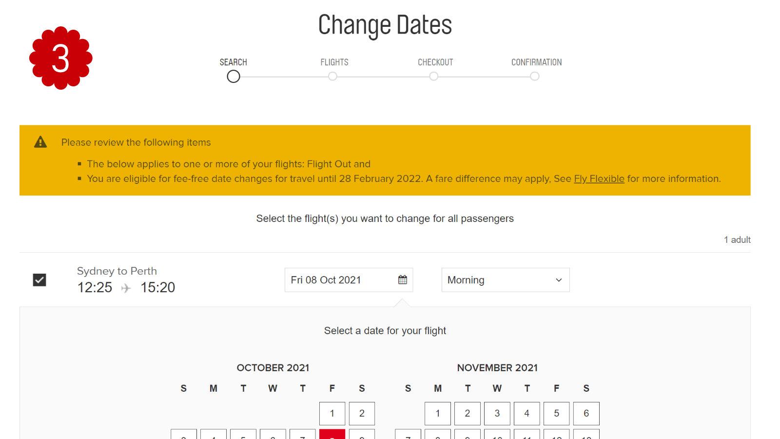 Qantas Change Flight 3