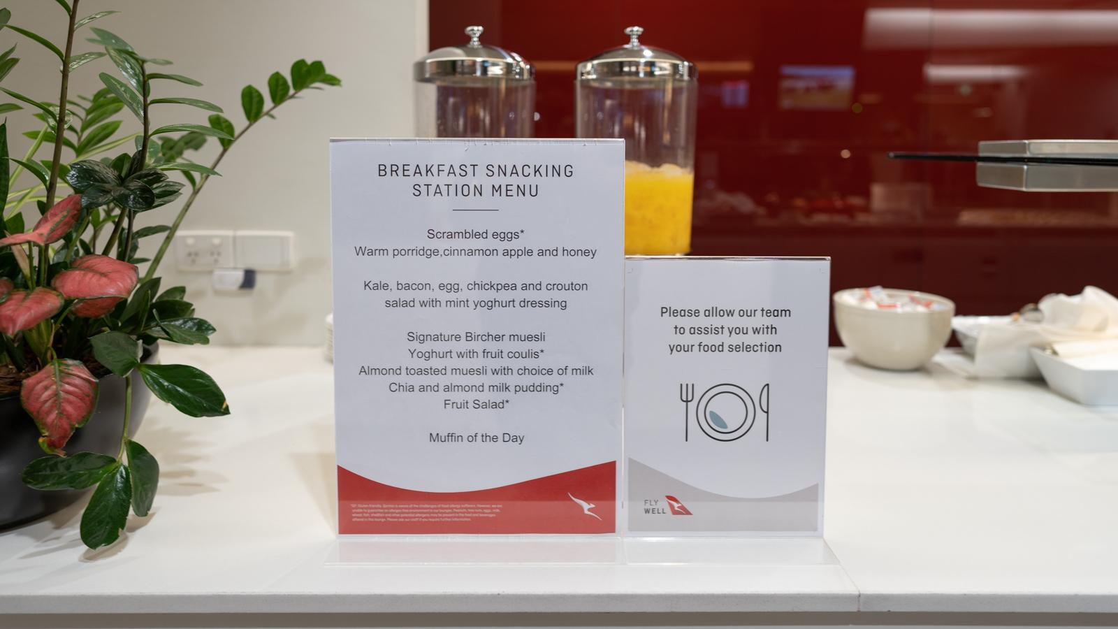 Qantas Club Adelaide breakfast menu