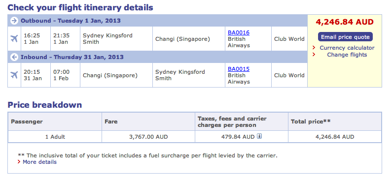 British Airways full Business Class fare