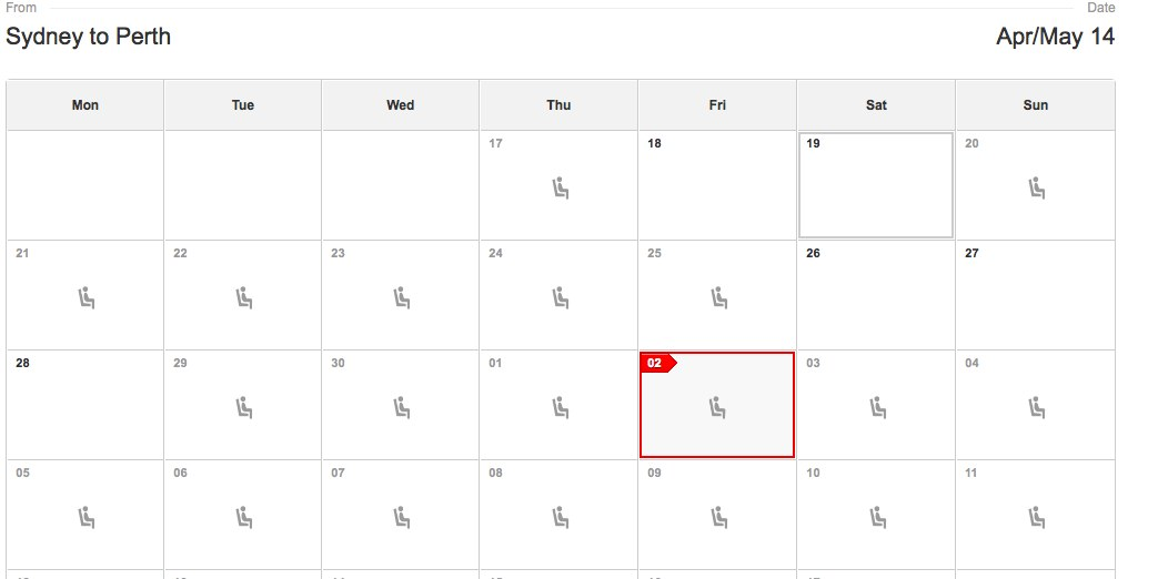 Qantas Availability Calendar