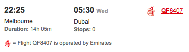 MEL-DXB EK QF flight number