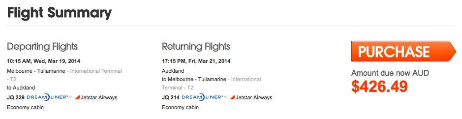 Jetstar MEL AKL 787 Booking  Confirmation