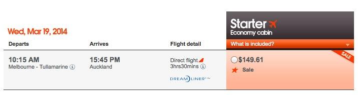 Jetstar MEL AKL 787 Booking  Flight Selection