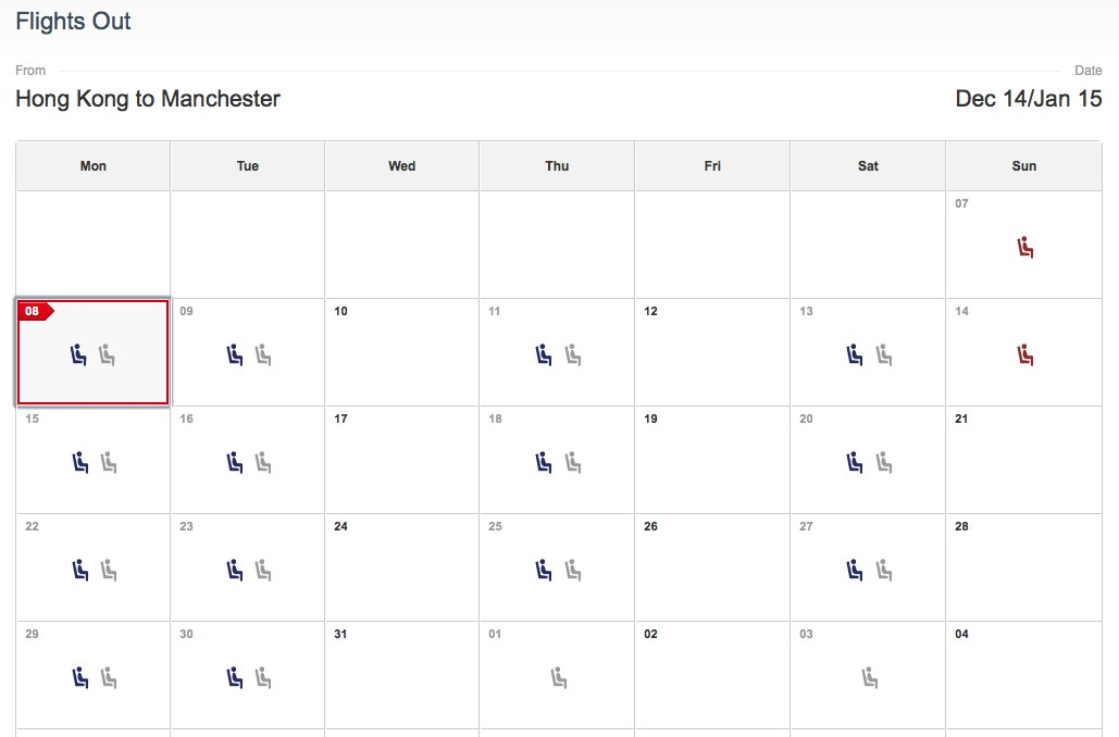 Cathay Manchester Availability