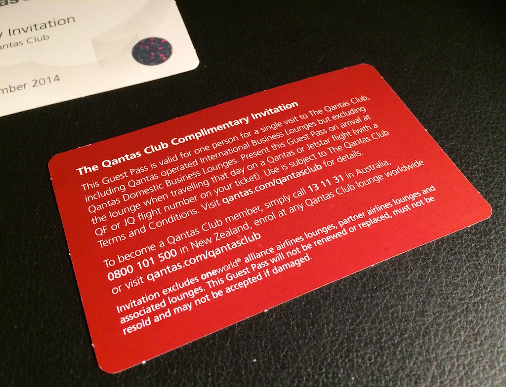 1 Qantas Club Lounge Pass Terms