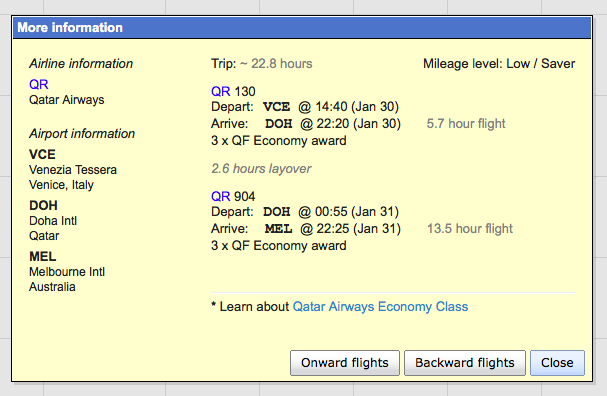Qatar award availability