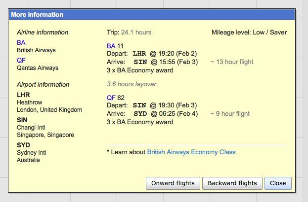 BA & Qantas availability