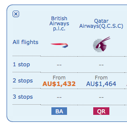 BA and Qatar Pricing
