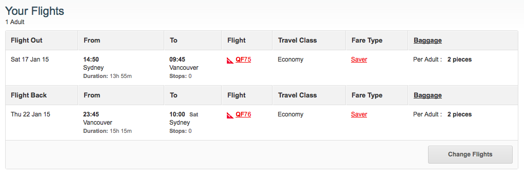 Qantas Vancouver cheapest dates