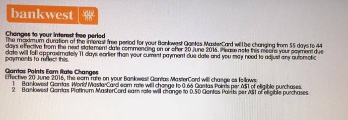 Bankwest Qantas changes statement
