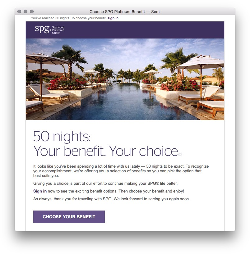 Choose 50 Night SPG Platinum Benefit Email