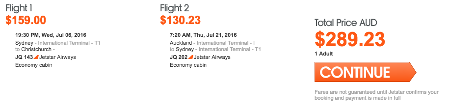 Jetstar NZ Sale Multicity
