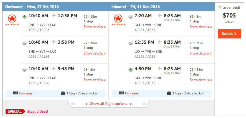 Flight Deal BNE-LAX AC Oct 2016 2