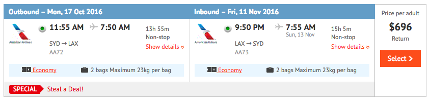 Flight Deal SYD-LAX AA Oct 2016 2