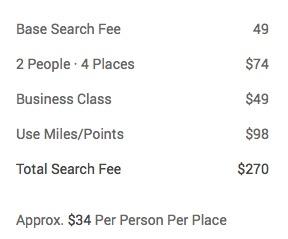 Flightfox example pricing