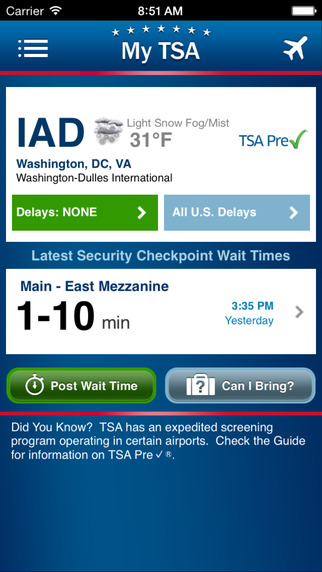 My TSA screenshot