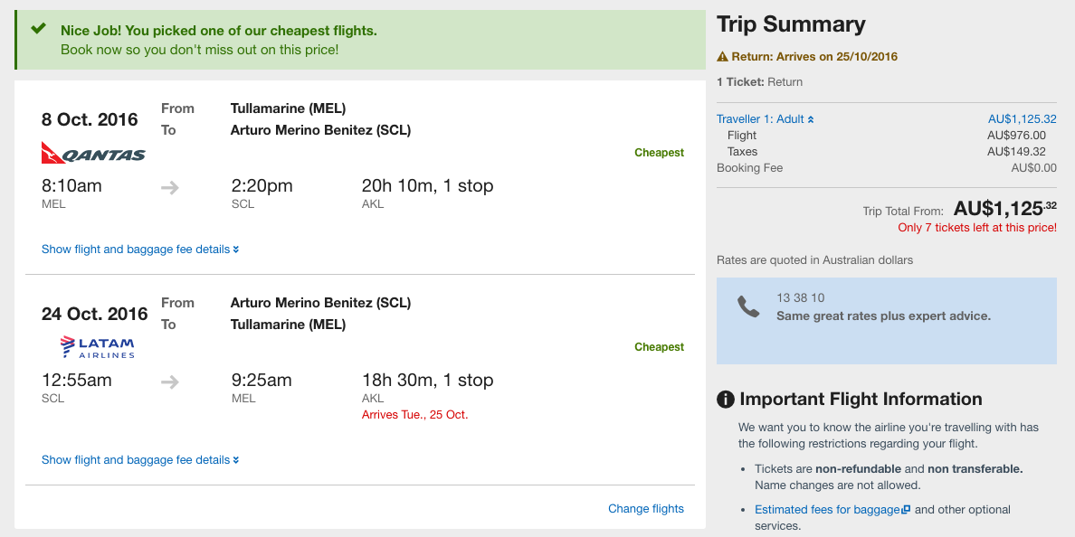 Flight Deal MEL-SCL