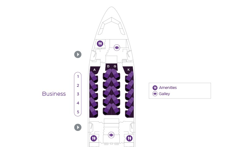 Virgin Australia A330 v1 Business Class Seatmap | Point Hacks
