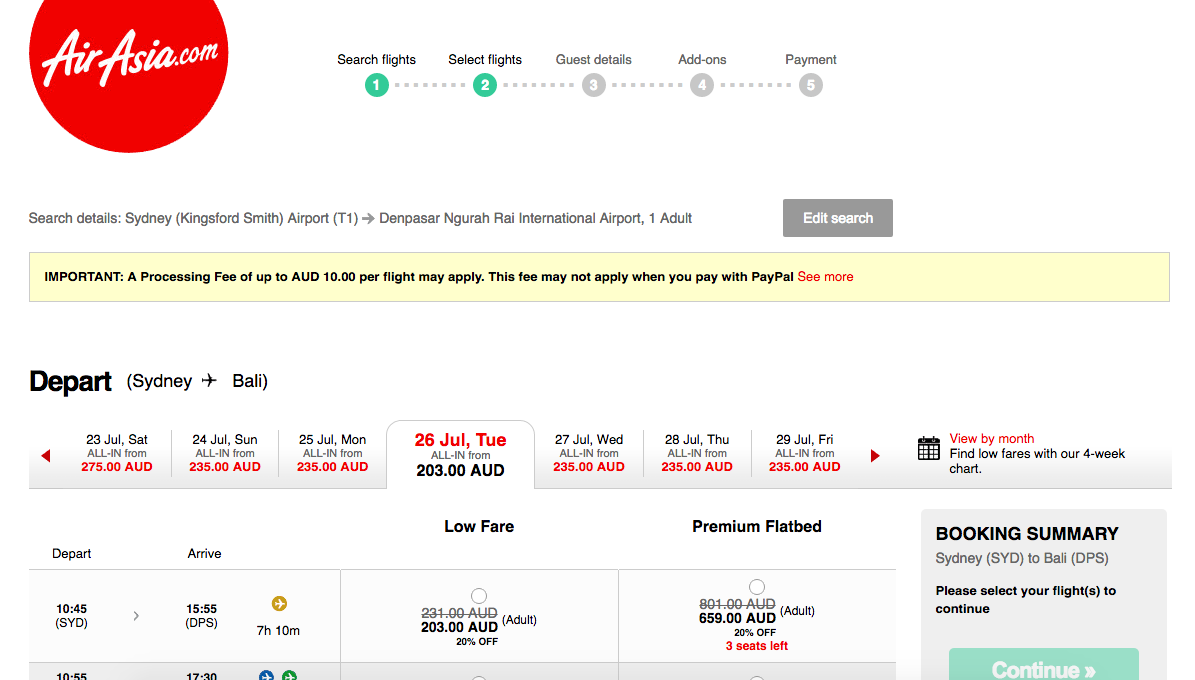 Jetstar Price Beat Guarantee AirAsia page result