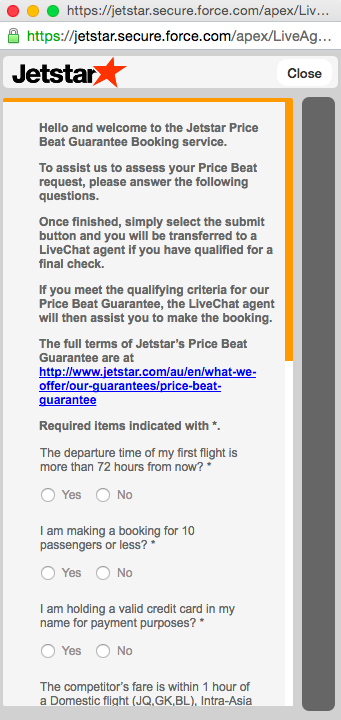 Jetstar Price Beat Guarantee form 1