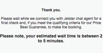 Jetstar Price Beat Guarantee wait time 2