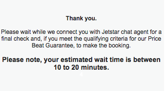 Jetstar Price Beat Guarantee wait time